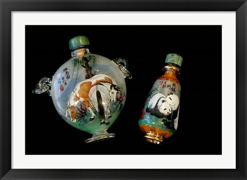 Framed Hand Painted Snuff Bottles with Jade Tops and Horse Globe, Chinese Handicrafts, China Print