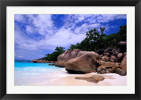 Framed Beach, La Digue in the Seychelle Islands Print