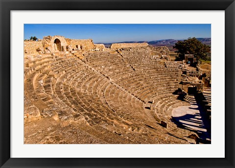 Framed Historical 2nd Century Roman Theater ruins in Dougga, Tunisia, Northern Africa Print