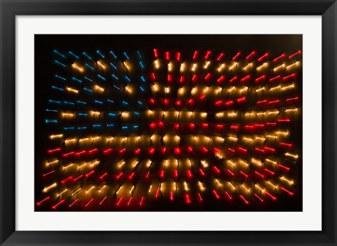 Framed Americana Flag made of zoomed Neon Lights Print