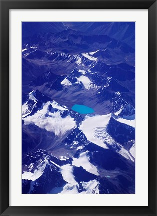 Framed Aerial View of Snow-Capped Peaks on the Tibetan Plateau, Himalayas, Tibet, China Print