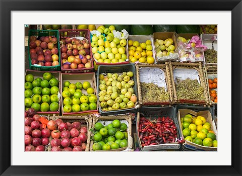 Framed Fruit for sale in the Market Place, Luxor, Egypt Print