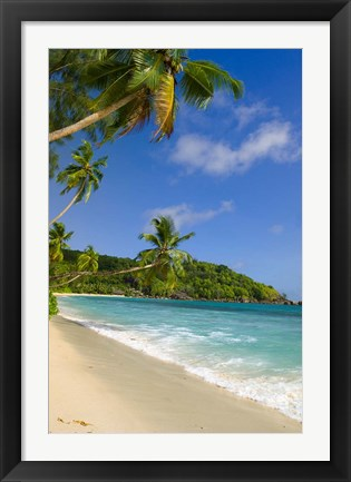 Framed Beach at Chez Batista's Restaurant, Seychelles Print