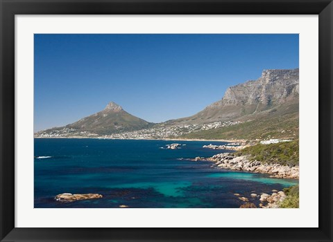 Framed Camps Bay and Clifton area, view of the backside of Lion's Head, Cape Town, South Africa Print