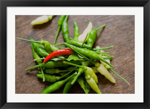 Framed Chile peppers, Market on Mahe Island, Seychelles Print