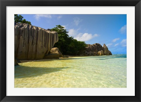 Framed Cliffs of Anse-Source D'Argent, Seychelles, Africa Print