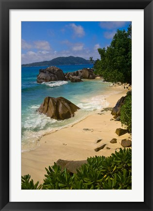 Framed Coastal View of La Digue Island, Seychelles Print