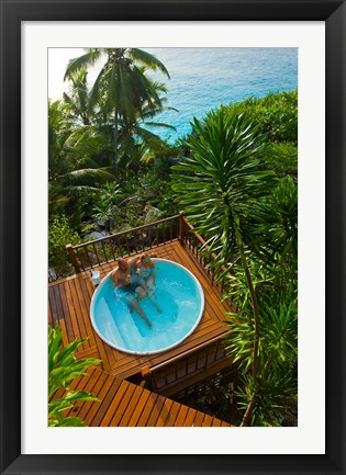 Framed Couple enjoying hot tub at Fregate Resort, Seychelles Print