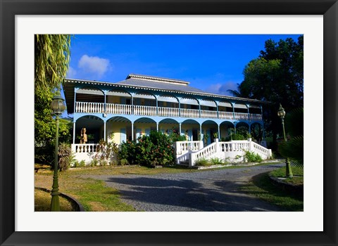 Framed Creole Architecture on Mahe Island, Seychelles Print