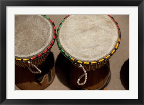 Framed Gambia, Banju, Wooden drums, musical instrument Print