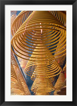 Framed Hanging coils of burning incense, Man Mo Temple, Tai Po, New Territories, Hong Kong, China Print