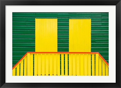Framed Yellow and Green wooden cottages, Muizenberg Resort, Cape Town, South Africa Print
