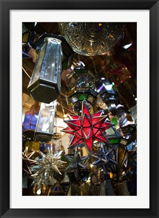 Framed Decorative Stars, The Souqs of Marrakech, Marrakech, Morocco Print