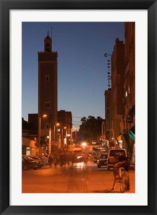 Framed Er Rachidia, Town Mosque and Rue el-Mesjia, Ziz River Valley, Morocco Print