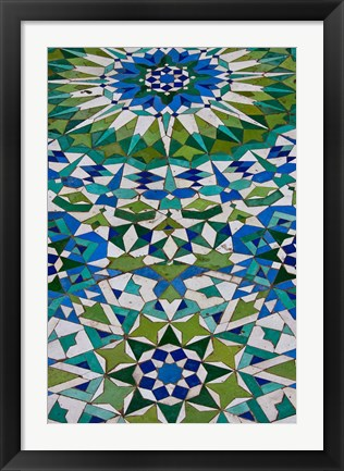 Framed Floor tiles in Al-Hassan II mosque, Casablanca, Morocco Print