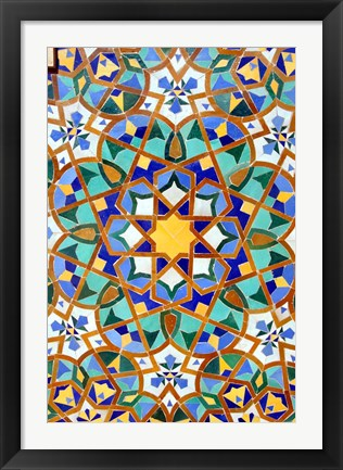 Framed Hassan II Mosque Mosaic Detail, Casablanca, Morocco Print