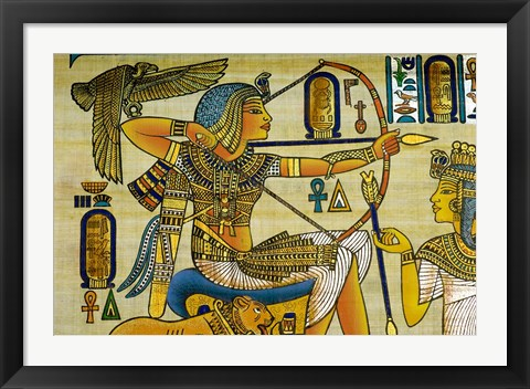 Framed Egypt, hand painted papyrus hunting scene Print
