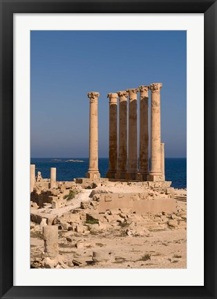 Framed Ancient Architecture with sea in the background, Sabratha Roman site, Libya Print