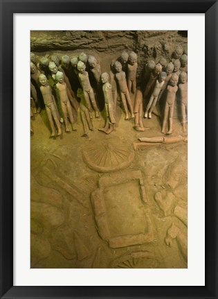 Framed Court eunuchs, terra cotta warriors, excavation, China Print