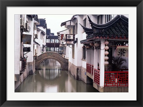 Framed Canal Seperates White Ming Buildings, Suzhoul, Jiangsu, China Print