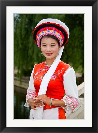Framed Bai Minority Woman in Traditional Ethnic Costume, China Print