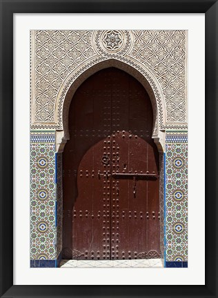 Framed Archway with Door in the Souk, Marrakech, Morocco Print