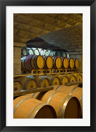 Framed Barrels in cellar at Chateau Changyu-Castel, Shandong Province, China Print