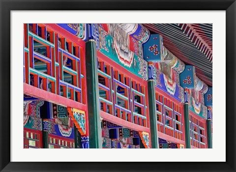 Framed Colorfully painted corridor details, Zhongshan Park, Beijing, China Print