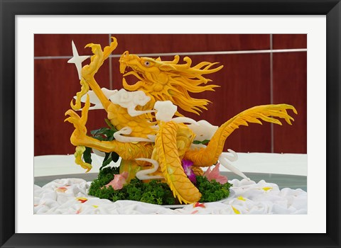 Framed Dragon carved from pumpkin, Yellow Mountain, China Print