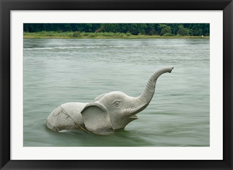 Framed Elephant statue in Li River, Elephant Trunk Hill Park, Guilin, China Print