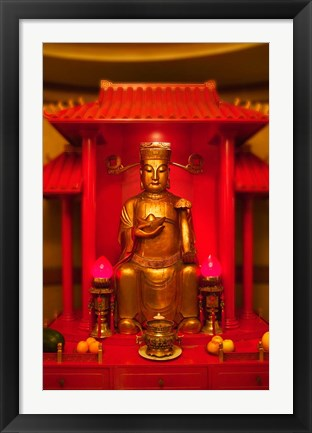 Framed God of General Guan Shrine in a Corporate Office, Shanghai, China Print