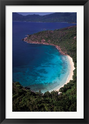 Framed Aerial View of Tropical Beach, Seychelles Print