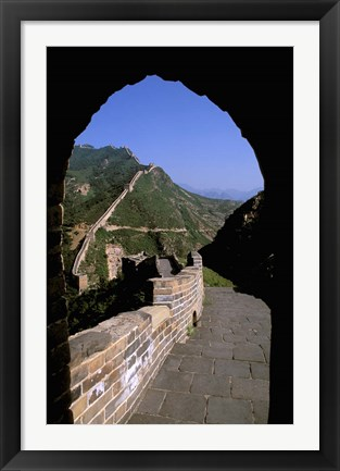 Framed Great Wall of China Viewed through Doorway, Beijing, China Print