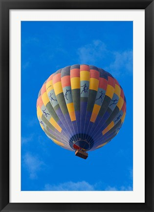 Framed Rainbow colored hot air balloon over Namib Desert, Sesriem, Namibia Print