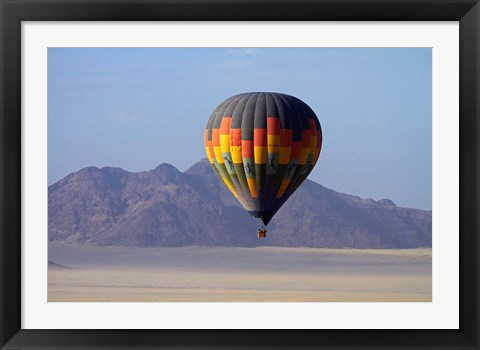 Framed Aerial view of Hot air balloon over Namib Desert, Sesriem, Namibia Print
