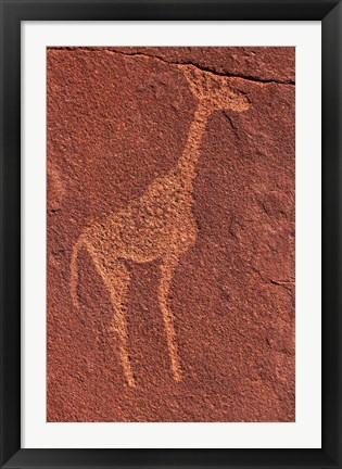 Framed Ancient rock etchings, Twyfelfontein, Damaraland, Namibia Print