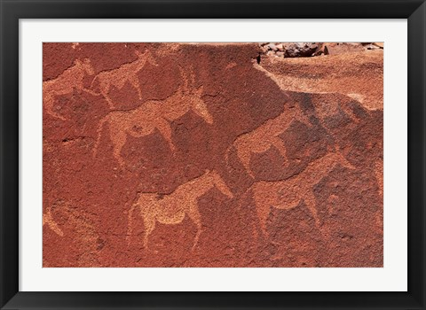 Framed Ancient rock etchings, Twyfelfontein, Damaraland, Namibia, Africa. Print
