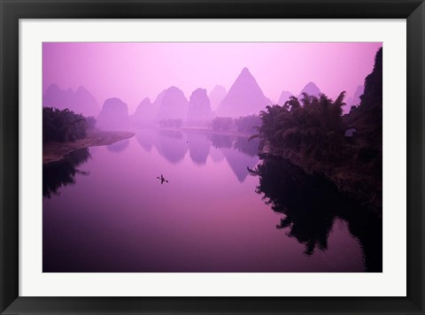 Framed Fisherman on Raft in Li River, Yangshou, Guanxi, China Print