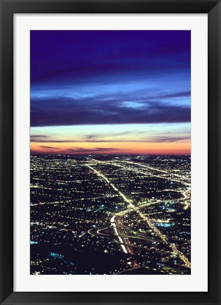 Framed Aerial Night View of Chicago, Illinois, USA Print