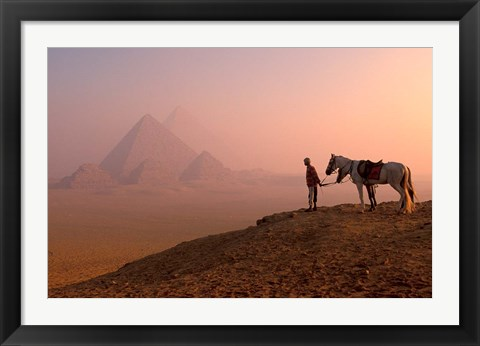 Framed Dawn View of Guide and Horses at the Giza Pyramids, Cairo, Egypt Print