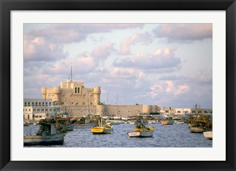 Framed 15th Century Castle, Fort Qait Bay, Alexandria, Egypt Print