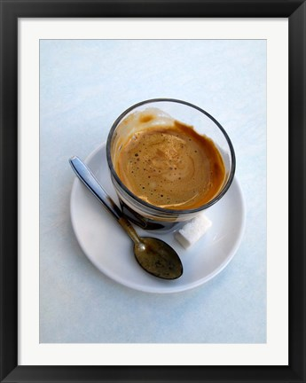 Framed Espresso Drink at Cafe in Essaouira, Morocco Print