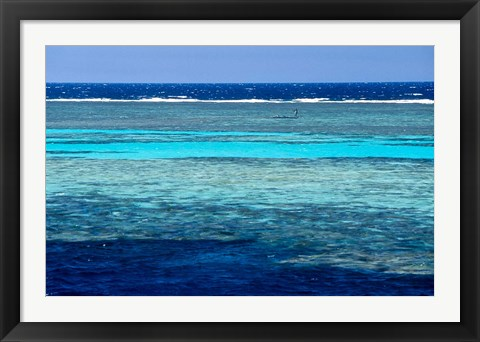 Framed Fisherman, Wooden Boat, Panorama Reef, Red Sea, Egypt Print