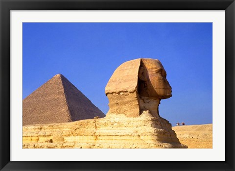 Framed Close-up of the Sphinx and Pyramids of Giza, Egypt Print