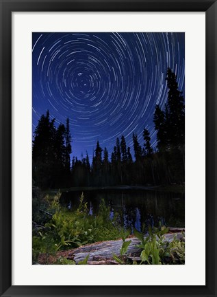 Framed Star trails above Summit Lake in Lassen Volcanic National Park, California Print