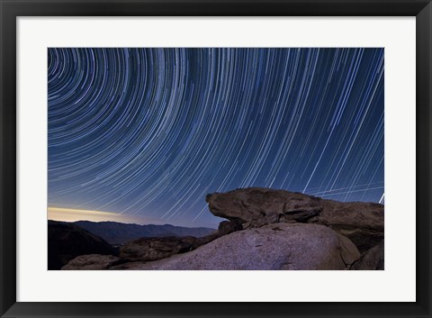 Framed Star trails and a granite rock outcropping overlooking Anza Borrego Desert State Park Print