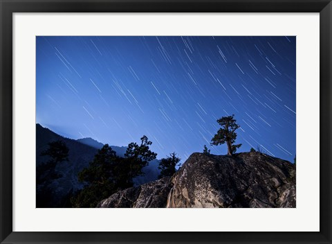 Framed Whisps of moonlight shine through the mountain peaks of Inyo National Forest Print