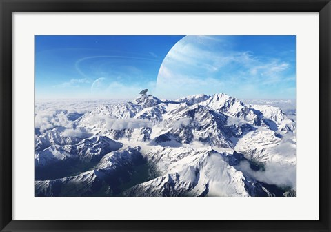 Framed gas giant rises in the distance over a massive slumbering volcano Print