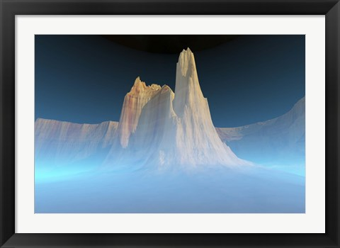 Framed canyon mountain is surrounded by mysterious blue mist Print