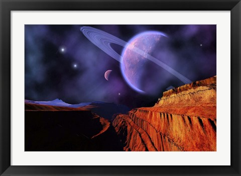 Framed Cosmic Landscape of Another Planet Print